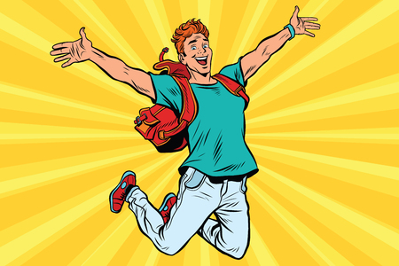 Jonge man springen van vreugde