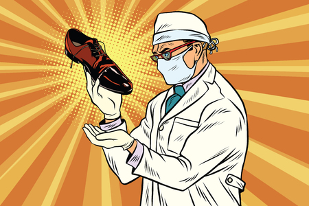 Scientist chemist explores shoes Stock Vector - 75452163