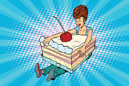 Happy girl and sweet cake Ilustrace