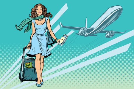 Beautiful young woman with Luggage at the airport  イラスト・ベクター素材
