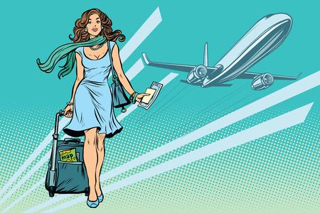 아름 다운 젊은 여자 공항에서 짐과 함께