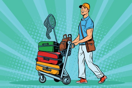 goods station: Male passenger traveler with Luggage on the trolley Illustration
