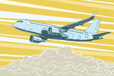 Luchtvervoer, passagiersvliegtuigen die boven de wolken vliegen Stock Illustratie