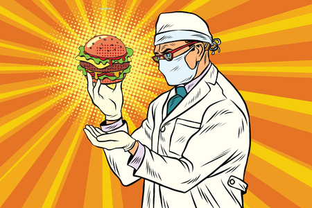 Scientist nutritionist and Burger fast food Stock Vector - 76053249