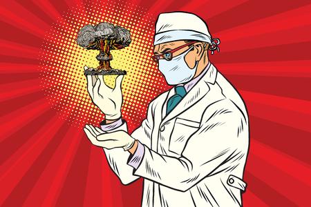 nucleaire wetenschapper en atoombom Stock Illustratie