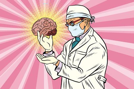 外科医医師と人間の脳  イラスト・ベクター素材