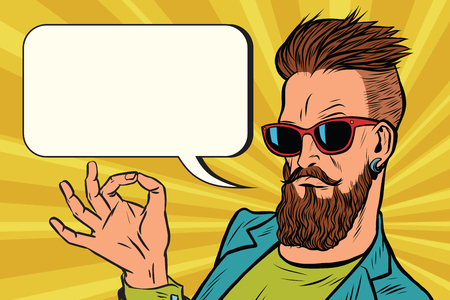 OK goed gebaar hipster. Pop art retro vectorillustratie