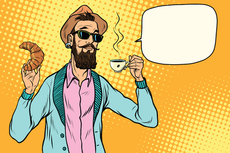 Hipster with coffee and croissant. Pop art retro vector illustration Stock Illustratie