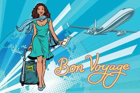 Beautiful girl with a ticket for the flight. Pop art retro vector illustration. Travel and tourism. Lifestyle. African American people. the inscription Bon voyage