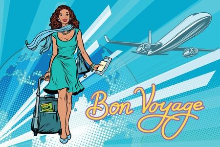 Hermosa chica con un billete para el vuelo. Ilustración retro del vector del arte pop. Viaje y Turismo. Estilo de vida. Afroamericanos. La inscripción Bon voyage Foto de archivo - 75792172