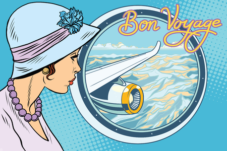 Vintage retro woman from the airplane. Pop art vector illustration. A journey in a passenger liner. Bon voyage inscription
