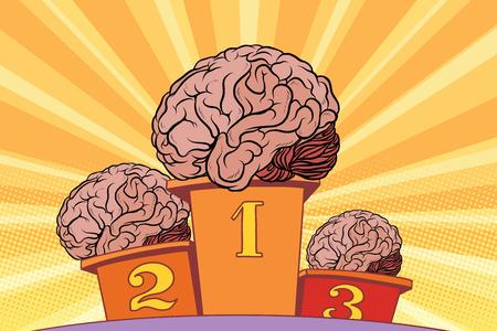 スポーツ表彰台に人間の脳。ポップアート レトロなベクター イラストです。競争の知性