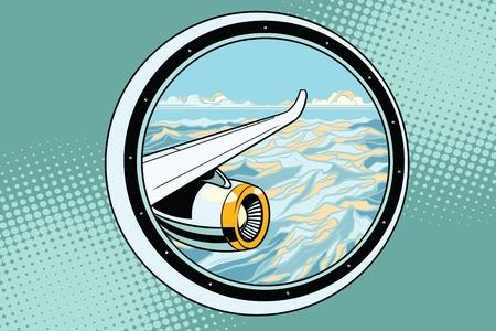 The wing of a flying passenger plane. Pop art retro vector illustration