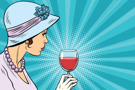 Retro lady with a glass of wine. Pop art vector illustration. Alcoholic beverages. Party in restaurant