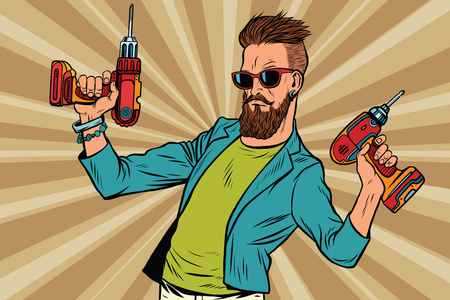 hipster repairman with a drill. Pop art retro vector illustration. Home repairs. Mens work