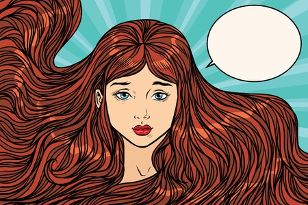 Sad young woman with long beautiful hair. Pop art retro vector illustration