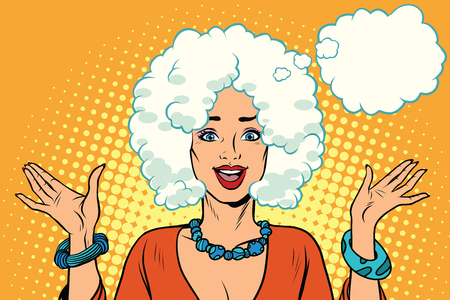 Beautiful woman hairstyle cloud. Pop art retro vector illustration