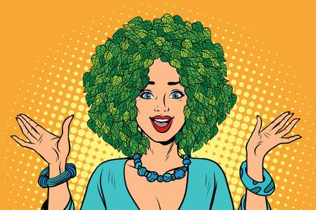 nature woman: Eco woman hair green plants nature. Environmentalist activist. Pop art retro vector illustration Illustration