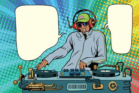 DJ 소년 파티 믹스 음악. 팝 아트 복고풍 벡터 일러스트 레이 션. 아프리카 계 미국인