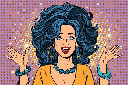 Vrolijk spectaculair glamourmeisje. Pop-art retro vector illustratie
