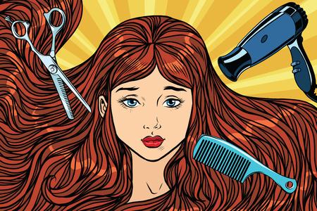 Friseurkonzept Das Mädchen mit langen Haaren. Pop-Art Retro-Vektor-Illustration. Schere, Fön und Kamm Standard-Bild - 76271203