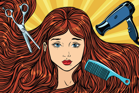 Barber concept. The girl with long hair. Pop art retro vector illustration. Scissor, Hairdryer and comb