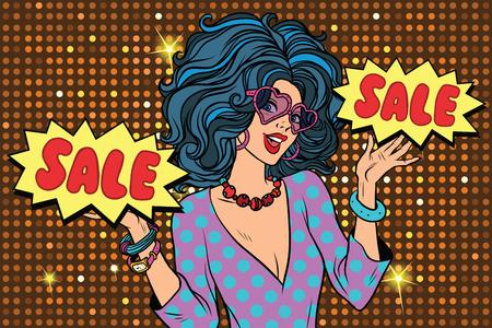 sale Shopaholic diva, a beautiful young woman. Pop art retro vector illustration