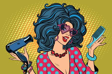 Bella giovane donna con strumenti Barber. Illustrazione vettoriale retrò pop art. Professionista stilista