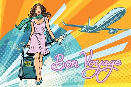 フライトのチケットを持つ美しい少女。ポップアート レトロなベクター イラストです。旅行と観光。ライフ スタイル  イラスト・ベクター素材