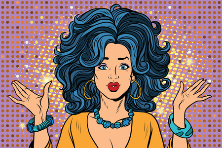 Sad beautiful disco girl gesture hands. Pop art retro vector illustration