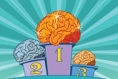 El cerebro del brillo humano en el podio de los deportes. Ilustración retro del vector del arte pop. Inteligencia de la competencia. Chispa y brillo