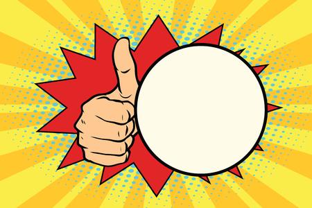 Thumb up gesture and a comic bubble. Pop art retro vector illustration