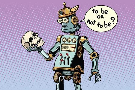 로봇과 인류, 햄릿의 장면. 팝 아트 복고풍 벡터 일러스트 레이션 일러스트