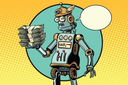 Retro robot met een bundel van geld. in de pose van gehucht. Pop art retro vectorillustratie