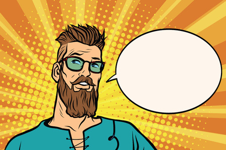 Hipster is thinking about something, a comic book bubble. Pop art retro vector illustration