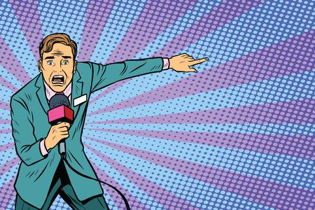 frightened TV reporter, crime reporting or disaster. Pop art retro vector illustration
