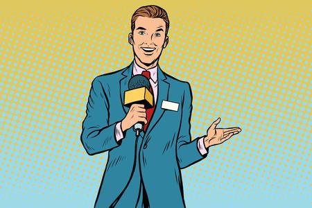 즐거운 TV 리포터와 마이크입니다. 팝 아트 복고풍 벡터 일러스트 레이션