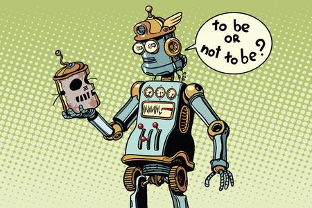 calavera caricatura: Nuevo robot mira el cráneo de su predecesor, el progreso técnico, en la pose de aldea. Pop art retro ilustración vectorial