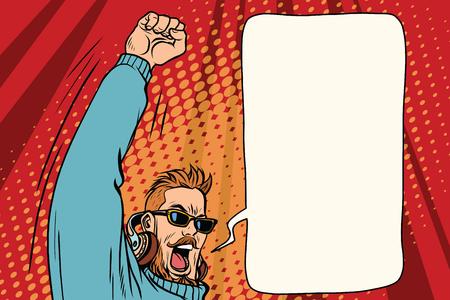 流行に敏感な DJ を感情的な手。ポップアートのレトロなベクトル図