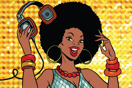 African American woman DJ with headphones. Audio and music. Pop art retro vector illustration Illustration