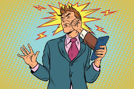 Coup de poing en ligne, combattre les hommes d'affaires de la vendetta de scandale Banque d'images - 77064629