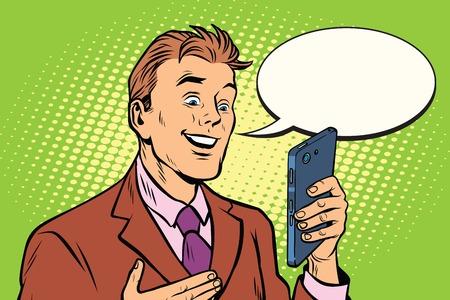 La comunicación en línea es un hombre de negocios y el teléfono inteligente