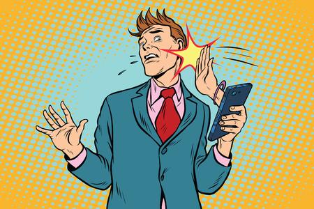Online slap, de relatie van mannen en vrouwen Stock Illustratie