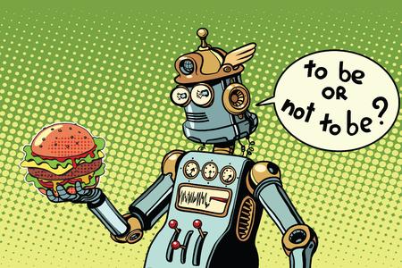 Comida rápida de la hamburguesa del robot