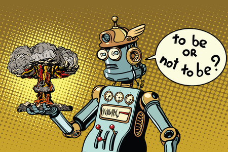 Retro robot and a nuclear explosion, war and conflict