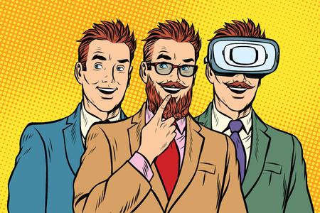 concerned: Band trendy retro businessmen, VR glasses