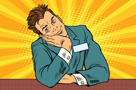 businessman manager concierge sits and dreams Illustration