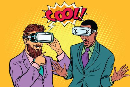 Hipster barbudo y emociones frescas afroamericanas en gafas VR