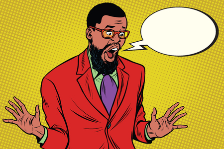 Shocked hipster bearded African American businessman says comic