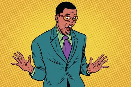 Shocked African American businessman Illustration